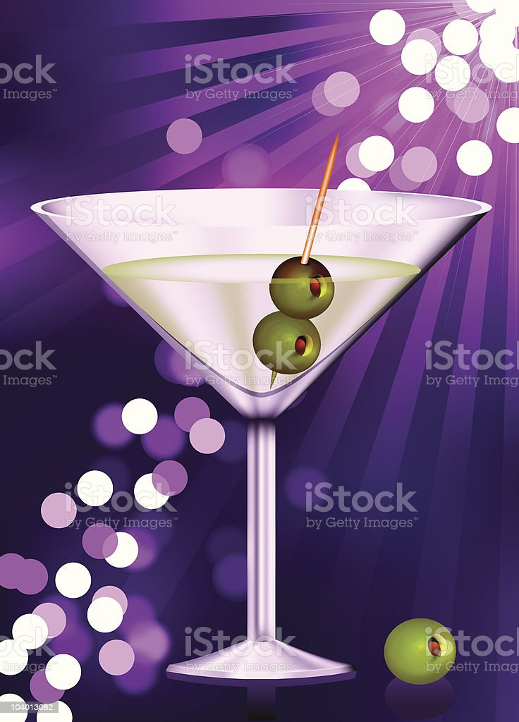 martini glass with olives on Glowing lights background vector art illustration