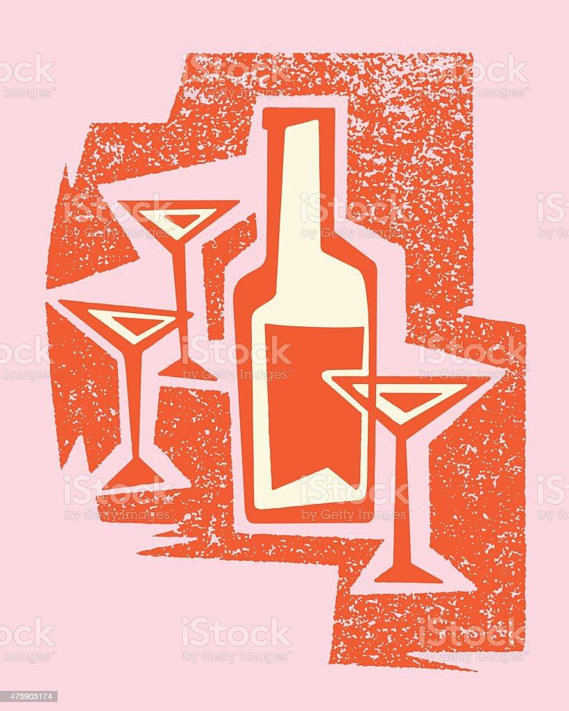 Martini Glasses and Bottle vector art illustration
