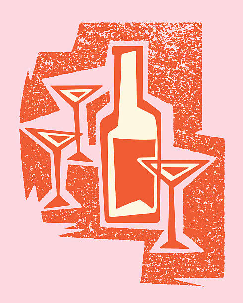 martini glasses and bottle - bachelor party stock illustrations, clip art, cartoons, & icons