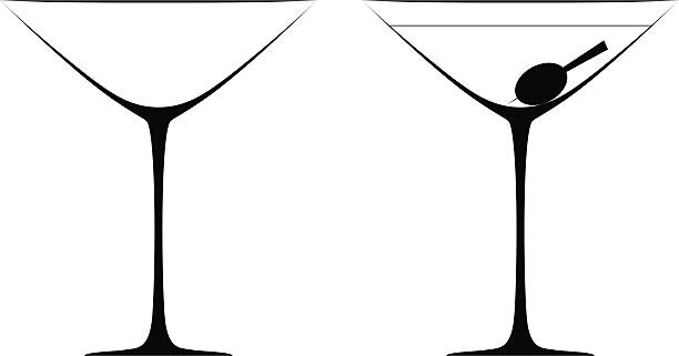 Martini glasses vector art illustration