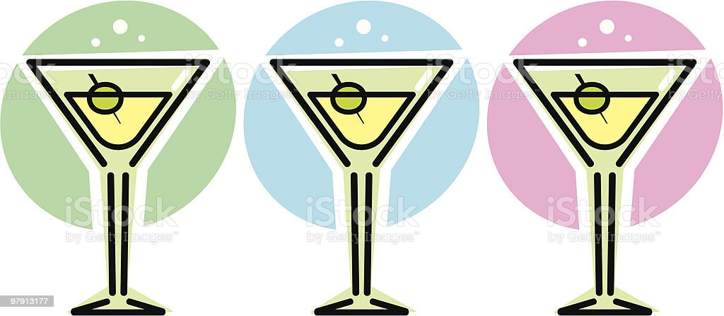Martini Glasses – Vector illustration royalty-free martini glasses vector illustration stock vector art & more images of 1960-1969