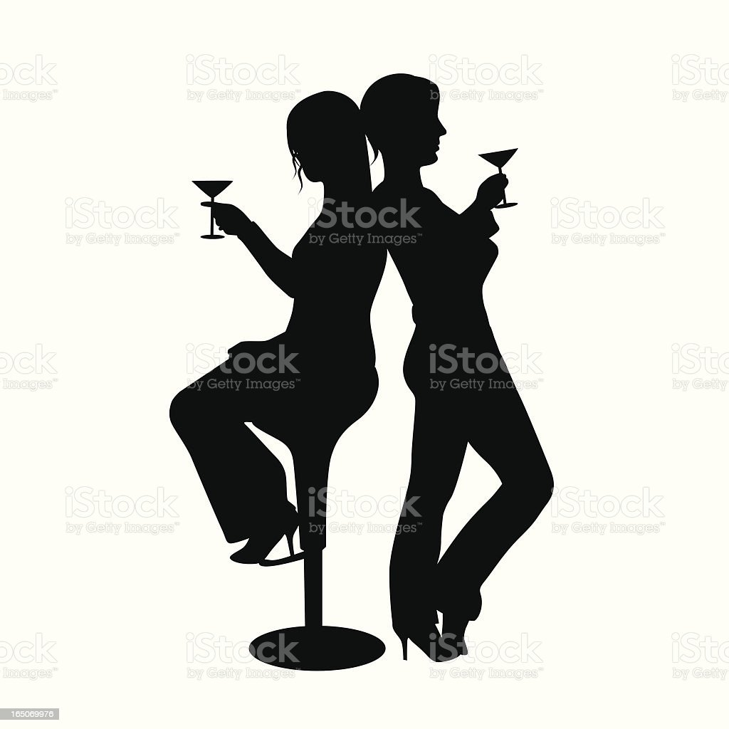 Martini Lovers Vector Silhouette royalty-free martini lovers vector silhouette stock vector art & more images of adult