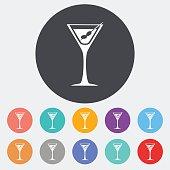 Martini. Single flat icon on the circle. Vector illustration.