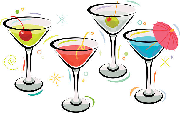 Martini Time Delicious martinis for your happy hour. Editable vector file with no gradients. martini glass stock illustrations