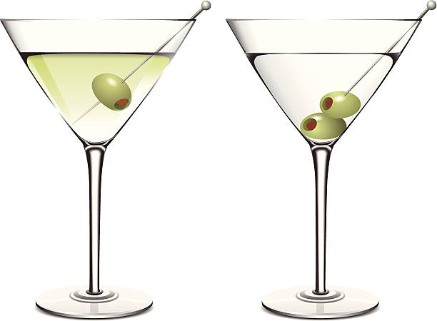Martini Vector illustration of martini with green olive. Download includes high resolution jpeg. martini glass stock illustrations