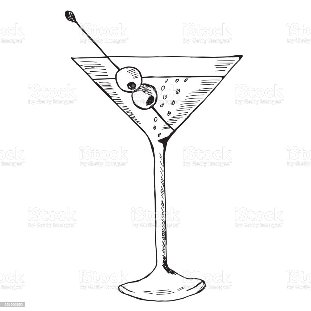 Martini with olive in glass royalty-free martini with olive in glass stock vector art & more images of alcohol