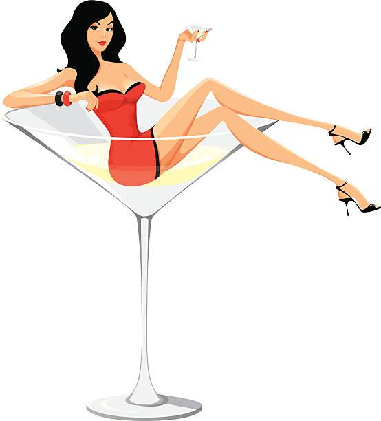 Martini woman - cartoon style vector art illustration