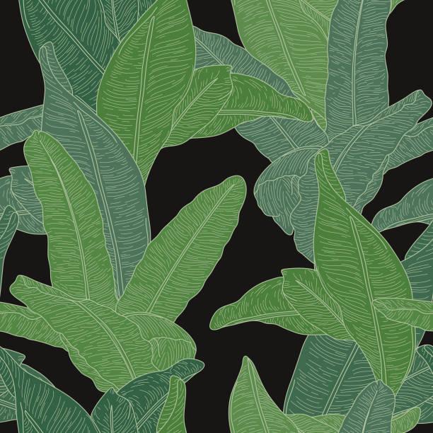 Martinique Inspired Seamless Banana Leaf Pattern Wallpaper vector art illustration
