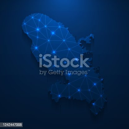 Map of Martinique created with a mesh of thin bright blue lines and glowing dots, isolated on a dark blue background. Conceptual illustration of networks (communication, social, internet, ...). Vector Illustration (EPS10, well layered and grouped). Easy to edit, manipulate, resize or colorize.
