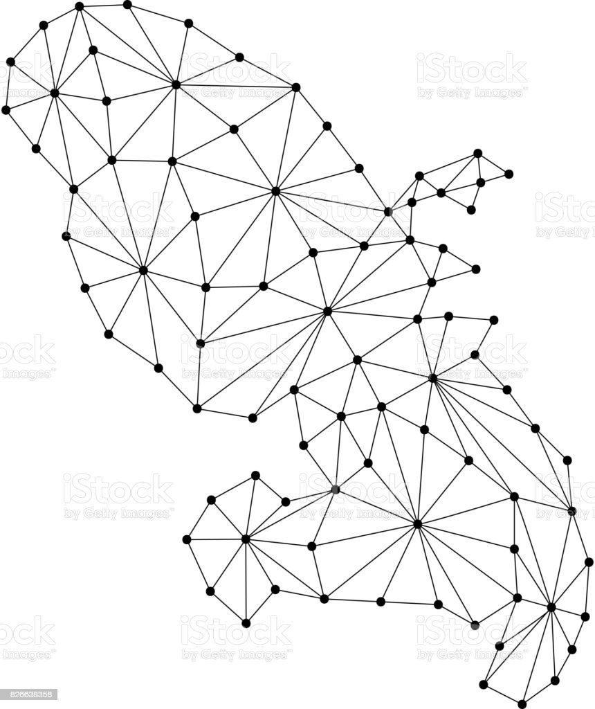 Martinique map of polygonal mosaic lines network, rays and dots vector illustration. vector art illustration