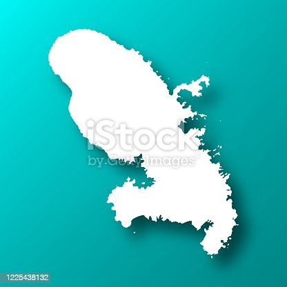 White map of Martinique isolated on a trendy color, a blue green background and with a dropshadow. Vector Illustration (EPS10, well layered and grouped). Easy to edit, manipulate, resize or colorize.