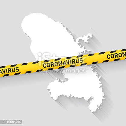 Map of Martinique with a coronavirus warning tape (COVID-19, 2019-nCoV) isolated on a gray background. The map is white with a long shadow effect and in a flat design style. Conceptual image: coronavirus outbreak on the territory, coronavirus detected, closing of borders, area under control, stop coronavirus, quarantined area, spread of the disease, virus alert, danger zone, confined space. Vector Illustration (EPS10, well layered and grouped). Easy to edit, manipulate, resize or colorize.