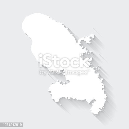 White map of Martinique isolated on a gray background with a long shadow effect and in a flat design style. Vector Illustration (EPS10, well layered and grouped). Easy to edit, manipulate, resize or colorize.
