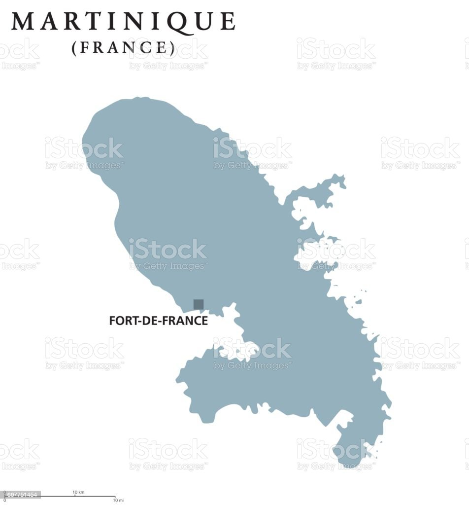Martinique political map vector art illustration