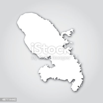 Vector silhouette of Martinique in white with a drop shadow.