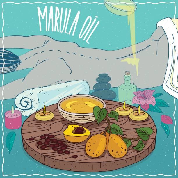 illustrazioni stock, clip art, cartoni animati e icone di tendenza di marula oil used for body massage - china drug