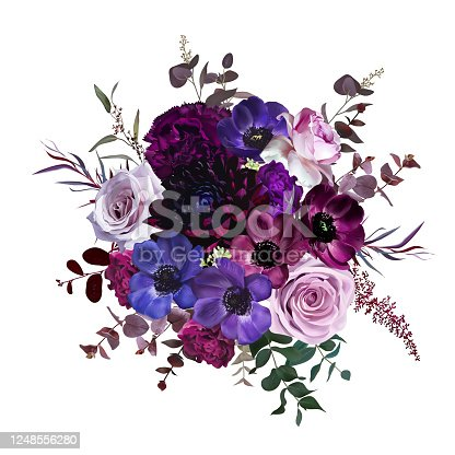 Marvelous violet, purple and burgundy anemone, dusty mauve and lilac rose, dark dahlia, astilbe, eucalyptus, carnation vector design bouquet.Stylish fall wedding bunch of flowers.Isolated and editable