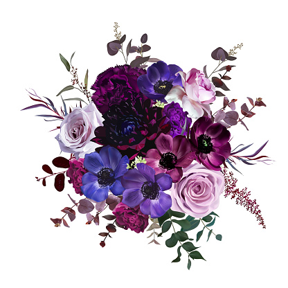 Marvelous violet, purple and burgundy anemone, dusty mauve and lilac rose, dark dahlia