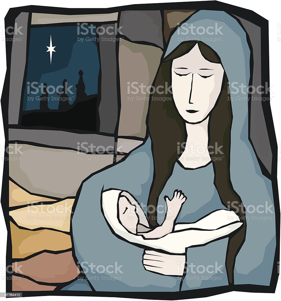 Mary and Child vector art illustration