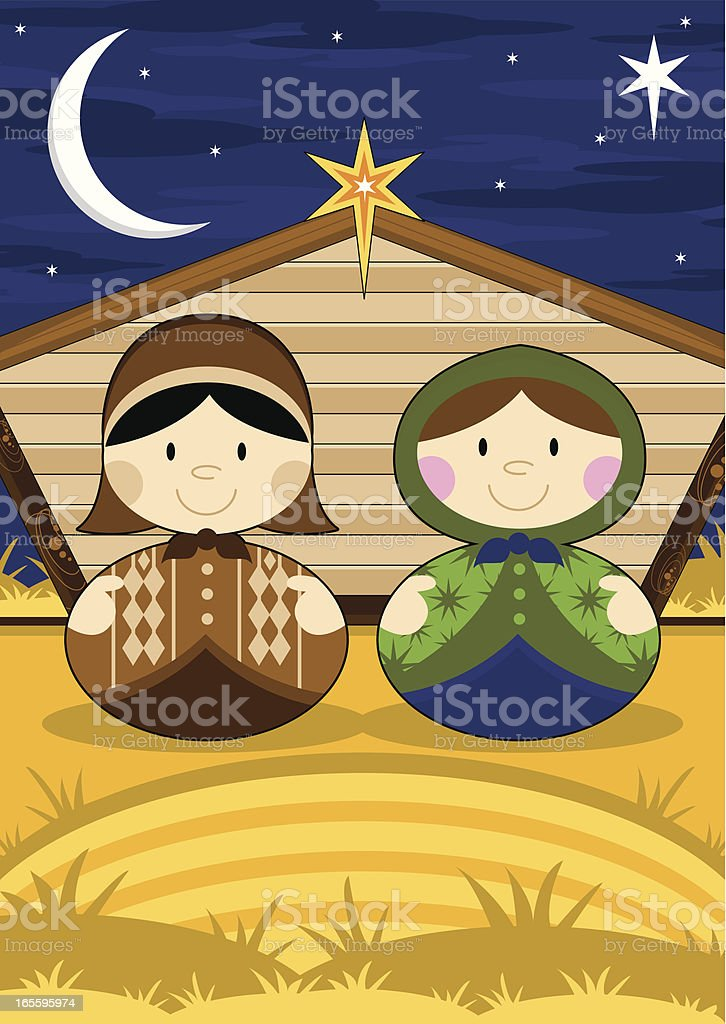 Mary and Joseph in Nativity Barn royalty-free mary and joseph in nativity barn stock vector art & more images of barn