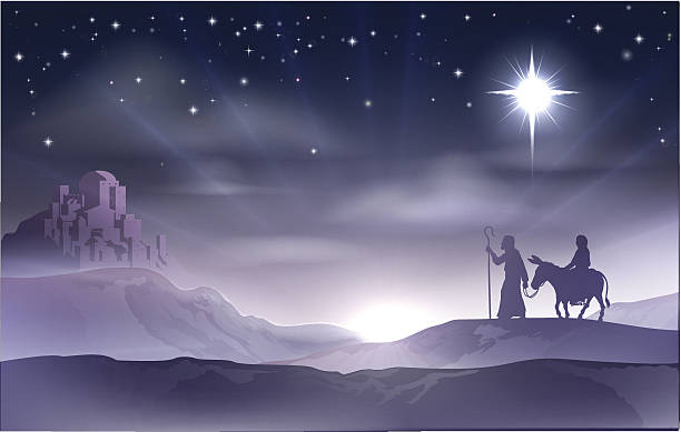 mary and joseph nativity christmas illustration - advent stock illustrations