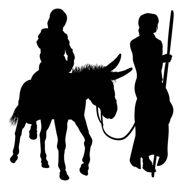 Mary and Joseph Nativity Silhouettes A nativity Christmas illustration of the Virgin Mary and Joseph with donkey in silhouette on their journey nativity silhouette stock illustrations