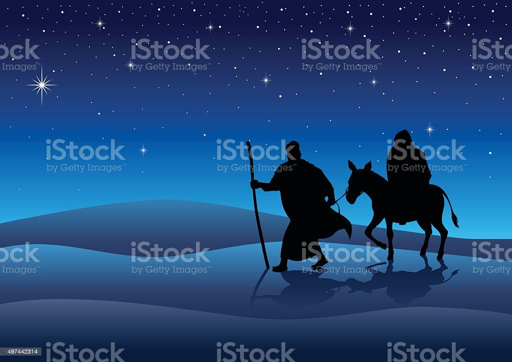 Mary And Joseph vector art illustration