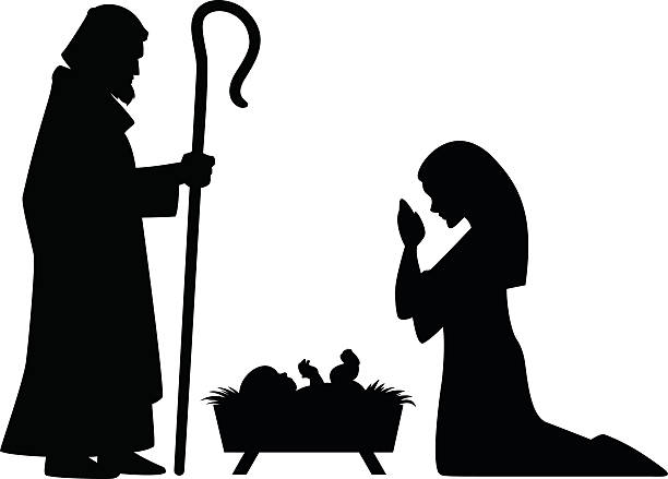 Mary, Joseph and Jesus A vector illustration of Mary, Joseph and baby Jesus. nativity silhouette stock illustrations