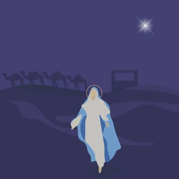 illustrazioni stock, clip art, cartoni animati e icone di tendenza di mary, mother of jesus. blessed virgin mary vector illustration. - ferragosto