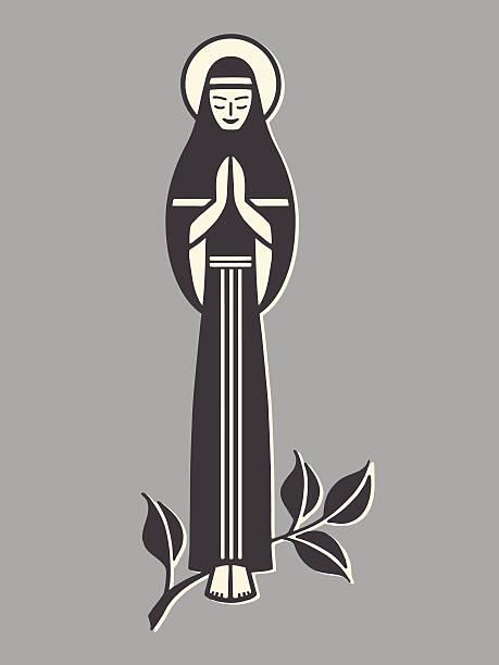 mary beten - jungfrau stock-grafiken, -clipart, -cartoons und -symbole