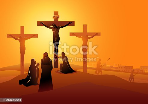 istock Mary the Mother of Jesus, John the beloved disciple and Mary of Magdala at the Crucifixion 1280693384