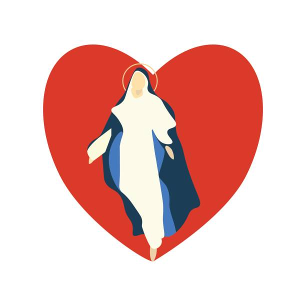 illustrazioni stock, clip art, cartoni animati e icone di tendenza di mary virgin vector illustration is great for christian holidays: feast of the sacred heart and solemnity of the immaculate conception of the blessed virgin mary, feast of our lady of the rosary. - ferragosto