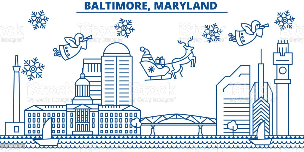 USA, Maryland , Baltimore winter city skyline. Merry Christmas and Happy New Year decorated banner. Winter greeting card with snow and Santa Claus. Flat, line vector. Linear christmas illustration vector art illustration