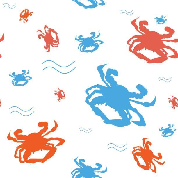 stockillustraties, clipart, cartoons en iconen met maryland blauwe krab naadloze patroon. chesapeake bay blauwe krab achtergrond. groot als een papieren verpakking sjabloon of voor krab fest of festival promotiemateriaal of print. - blauwe zwemkrab