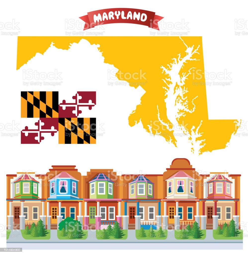 Maryland, Charles Village vector art illustration