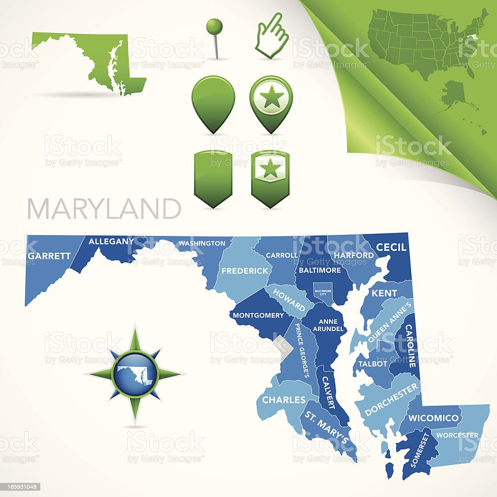 Maryland County Map royalty-free stock vector art