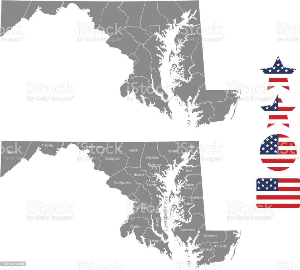 Maryland County Map Vector Outline In Gray Background Maryland State ...