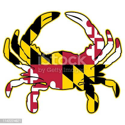 Sharp Maryland flag colors crab vector graphic with very cleans, bold red, black, white and yellow colors and black and yellow outline, isolated for easy editing