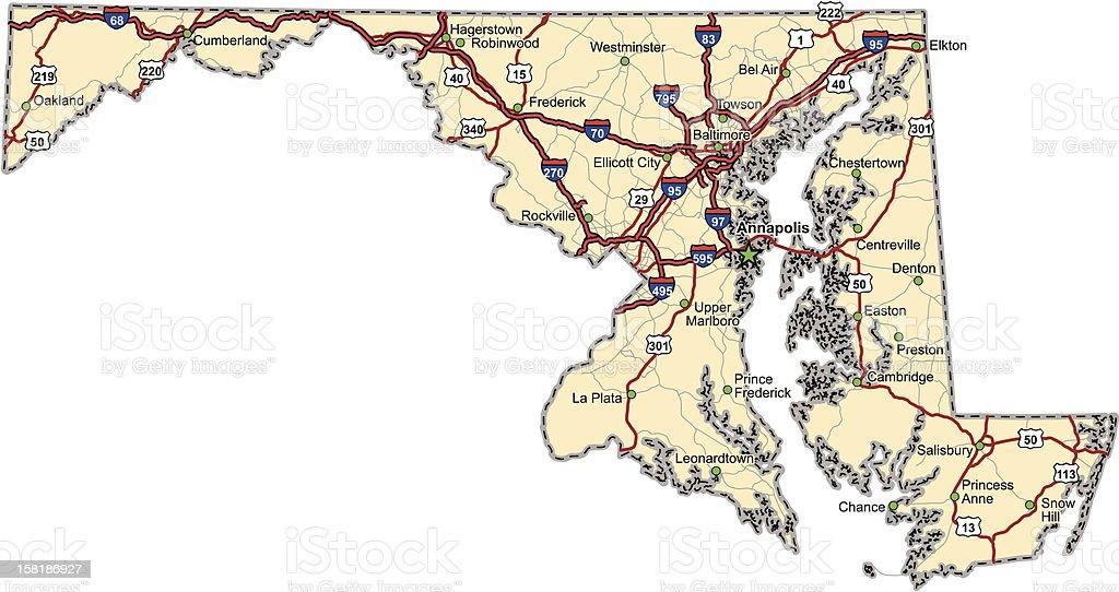 Maryland Highway Map stock vector art 158186927 iStock