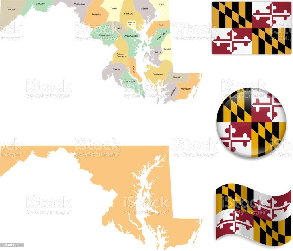 Bandera de mapa de Maryland y - ilustración de arte vectorial