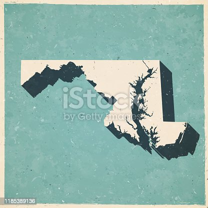 Map of Maryland in a trendy vintage style. Beautiful retro illustration with old textured paper and a black long shadow (colors used: blue, green, beige and black). Vector Illustration (EPS10, well layered and grouped). Easy to edit, manipulate, resize or colorize.
