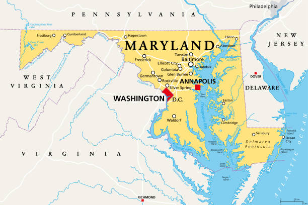 Maryland, MD, political map, Old Line State, Free State vector art illustration