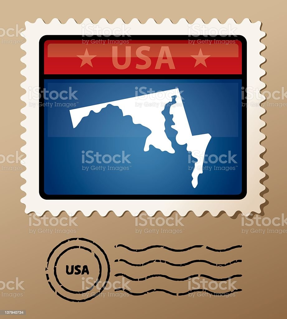 USA Maryland postage stamp royalty-free stock vector art