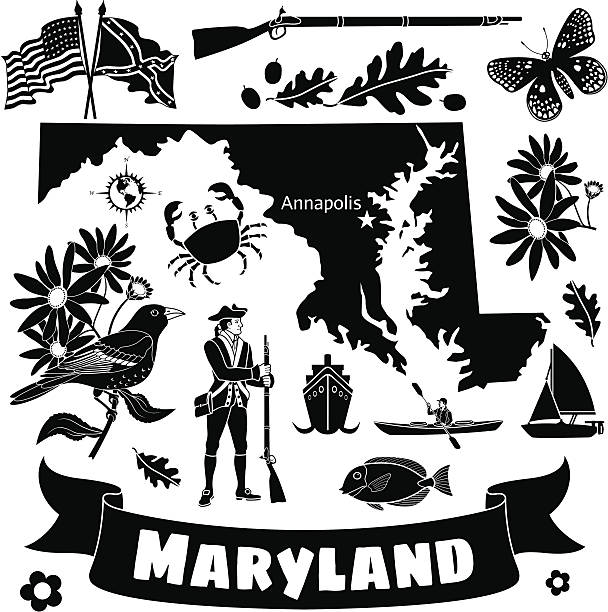 Maryland state map and icons vector art illustration