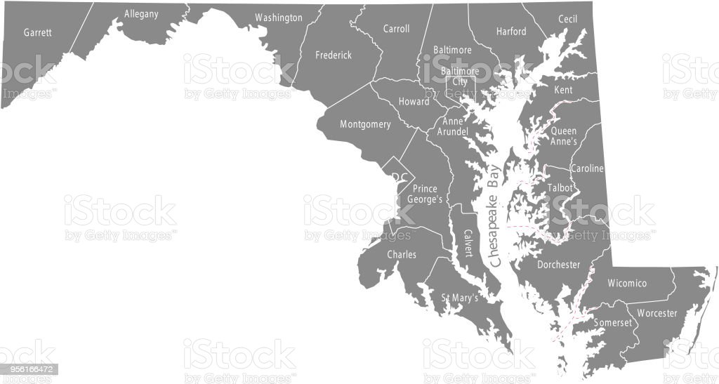 Maryland state of USA county map vector outlines illustration with counties names labeled in gray background. Highly detailed county map of Maryland state of United States of America vector art illustration