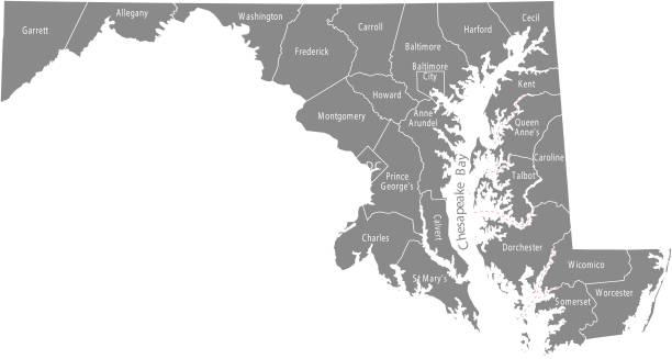 maryland state der usa county karte vektor umrisse, die illustration mit grafschaften namen in beschriftet grauer hintergrund. hochdetaillierte county karte der maryland state von vereinigte staaten von amerika - salisbury stock-grafiken, -clipart, -cartoons und -symbole