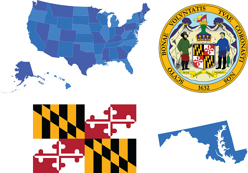 Vector illustration of Maryland state, contains :