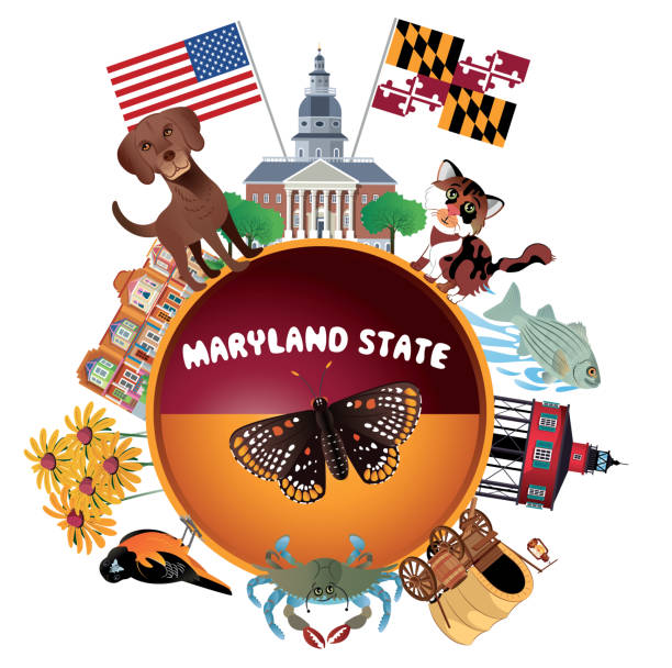 Maryland Travel vector art illustration