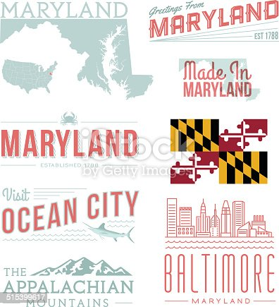 A set of vintage-style icons and typography representing the state of Maryland, including Baltimore and Ocean City. Each items is on a separate layer. Includes a layered Photoshop document. Ideal for both print and web elements.