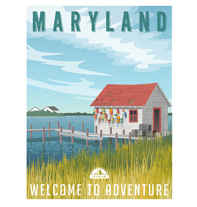 Maryland, United States travel poster or sticker. Retro style vector illustration of a fictional fishing shack with crab traps and buoys.